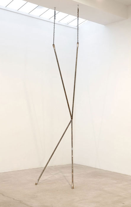 Davina Semo,  SHE WAS NO MORE DISTURBED BY OTHER PEOPLE AS SUCH, THAN THE MARBLE STATUE IS BY THE FLIES THAT CRAWL ON IT,  2011, steel scaffold braces, steel chain, 144 x 31.5 x 42.5 in