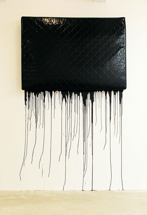 Jim Lambie,  Black Metal , 2004, mattress, gloss paint, dimensions variable