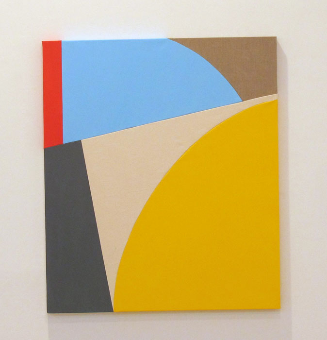 Sarah Crowner,  Untitled , 2011, oil on sew canvas, cloth and linen, 42 x 36 in