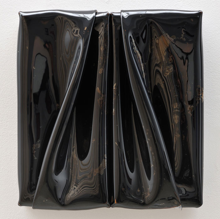 Daniel Turner,  Untitled 5250 , 2011, encased tar, vinyl, wood, 17 x 15 x 3 in