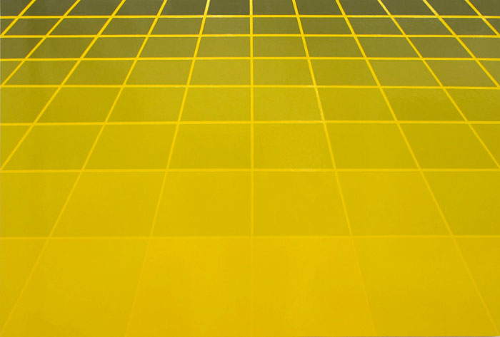 David Malek,  Large Yellow Perspective Grid , 2011, oil based high-gloss enamel on panel, 40 x 60 in
