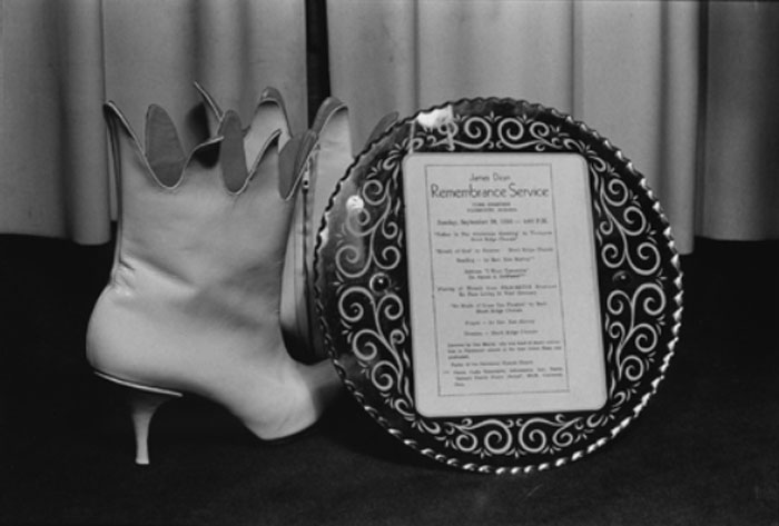 Jane England,  James Dean Memorial Service, with Vivienne Westwood boots, display at Sex, February , 1976, silver bromide print from original negative, 5 x 7 in