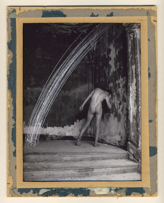 Andrew Mania,  Palermo Nude , 2010, photograph mounted on card with drawing, 9.5 x 7.5 in