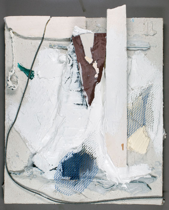 Joseph Montgomery,  Image Seventy Six , 2009-2010, Oil, clay, wax, aluminum mesh, wire and plaster on grout and plastic, 12 3⁄4 x 10 x 1 1⁄2 in