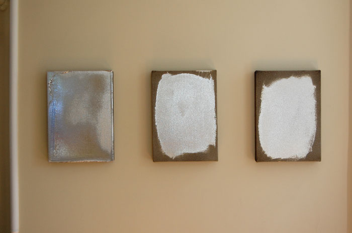 Jacob Kassay,  Untitled , 2010, Acrylic and silver deposit on canvas three parts, each 14 x 10 in