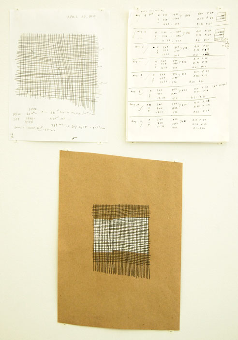 Nancy Brooks Brody, Clockwise from left:  sun graph , April 10, 2010, graphite on paper, 11 x 8.5 in,  Time charts   May 4- 31 , 2005, Ink on paper, 11 x 8.5 in,  sun graph   May 1 , 2005, Graphite and watercolor on paper, 15 x 12 in