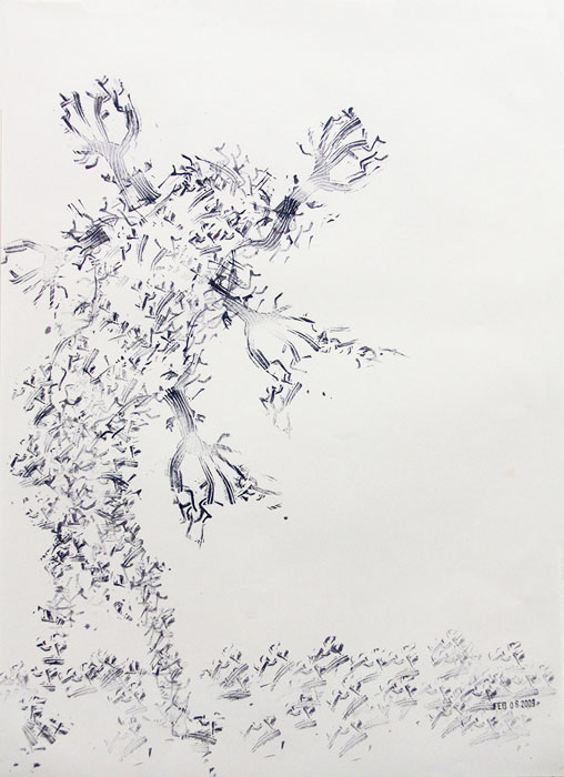 Julien Gardair,  Mr.Tree , 2009, Stamp prints on paper, 22 x 16 in