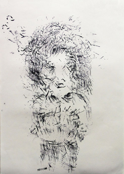 Julien Gardair,  Ballade , 2009 Stamp prints on paper 22 x 16 in
