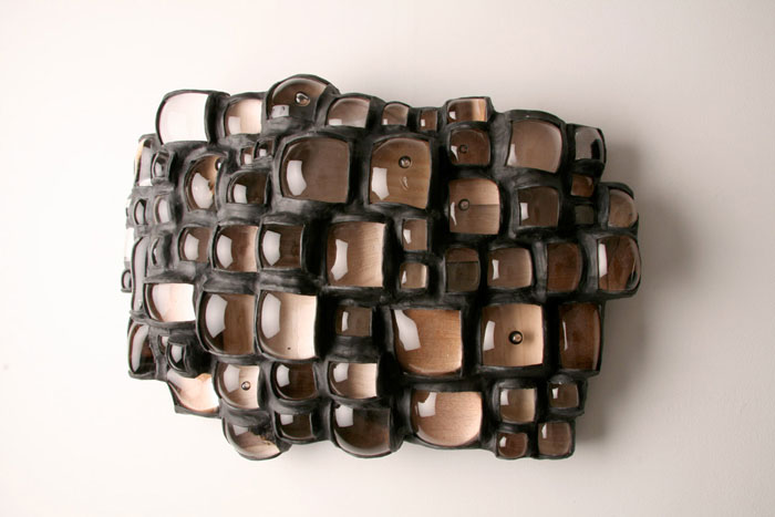 Graham Caldwell,  Anachronism , 2010, Blown glass, epoxy, wood, 19 x 27 x 8 in