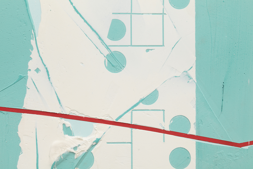 Nicolas Roggy,  Untitled  (detail), 2014, primer, modeling paste, pigment, acrylic paint on PVC, 87 x 93.7 x 1 in