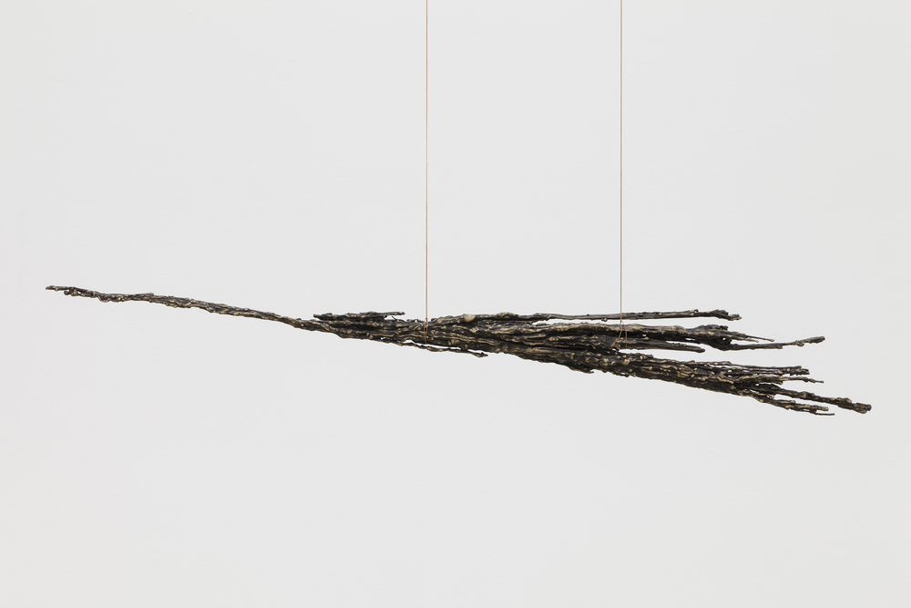 Kelly Akashi,  Untitled , 2014, bronze, bronze wire, 49 x 6 x 4 in
