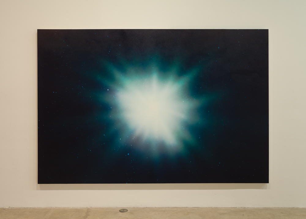 Lazaros,  (α 8.5h 22.5m 20.02045s / δ -14.5° 0′ 14.059″) , 2015, airbrushed acrylic on canvas, 74 x 111 in