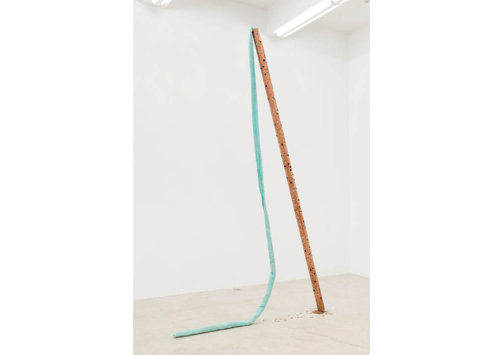 Jory Rabinovitz,  Current (Creditor) , 2014, Verdigris Green pigmented fabric, studio trash, metled and un-melted copper pennies, 120 x 5 x 75 in