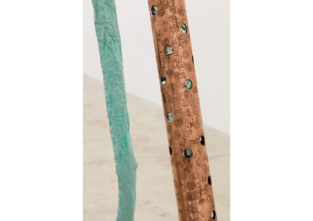 Jory Rabinovitz,    Current (Creditor)  (detail), 2014, Verdigris Green pigmented fabric, studio trash, metled and un-melted copper pennies, 120 x 5 x 75 in