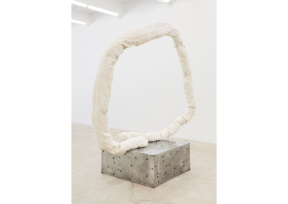 Jory Rabinovitz,  Tranz-Yoni , 2014, Zinc White pigmented fabric, studio trash, melted and un-melted zinc pennies, 81 x 44 x 103 in