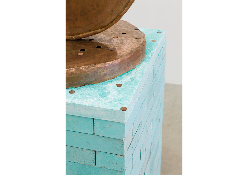 Jory Rabinovitz,  Anatolian Stack  (detail), 2014, Verdigris Green pigmented bricks, melted and un-melted copper pennies, 85 x 28 x 28 in