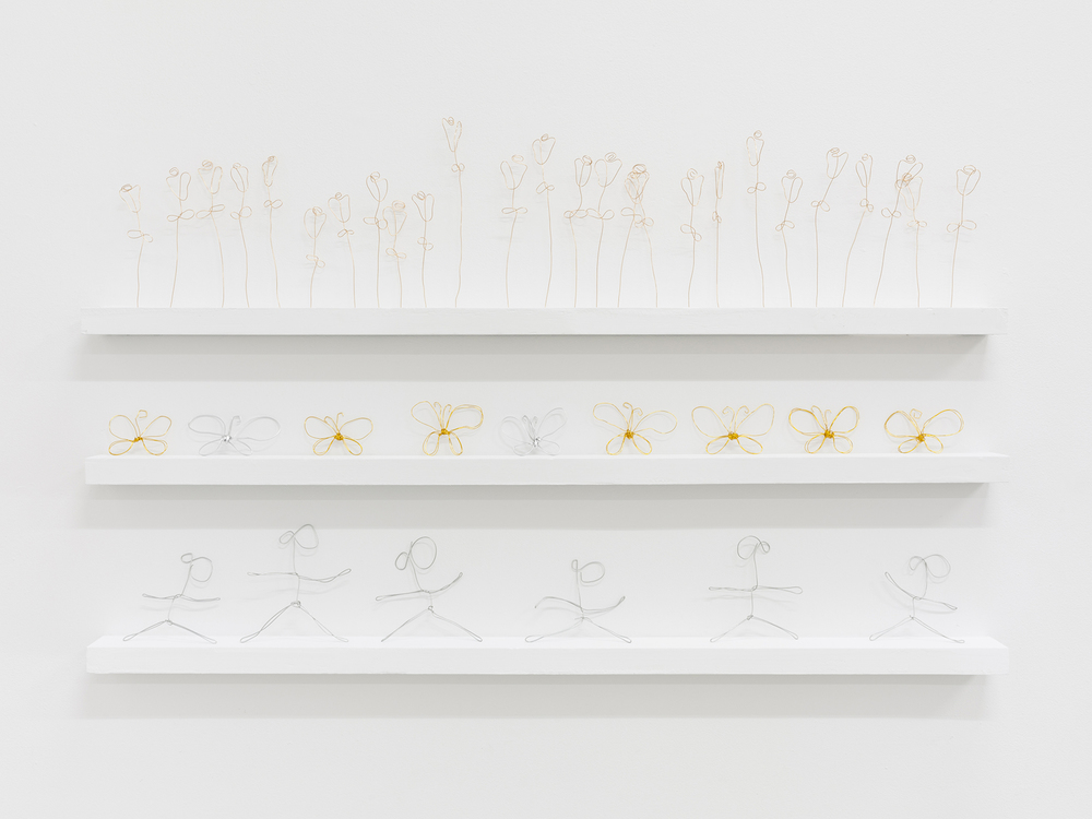 Amalia Ulman,  27 Roses;   9 Butterflies ;  6 Girls , 2013, copper, dimensions variable