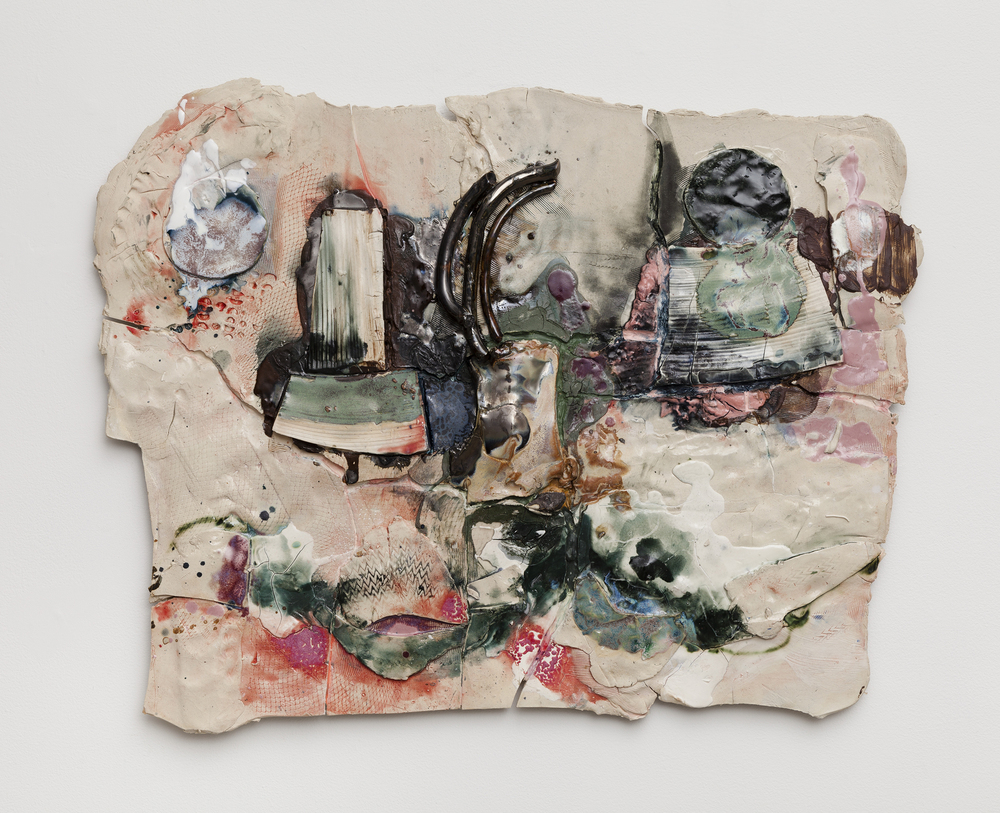 Jennie Jieun Lee,  Air on a G String , 2015, glazed stoneware, oil paint, resin, 27 x 34 x 2.5 in