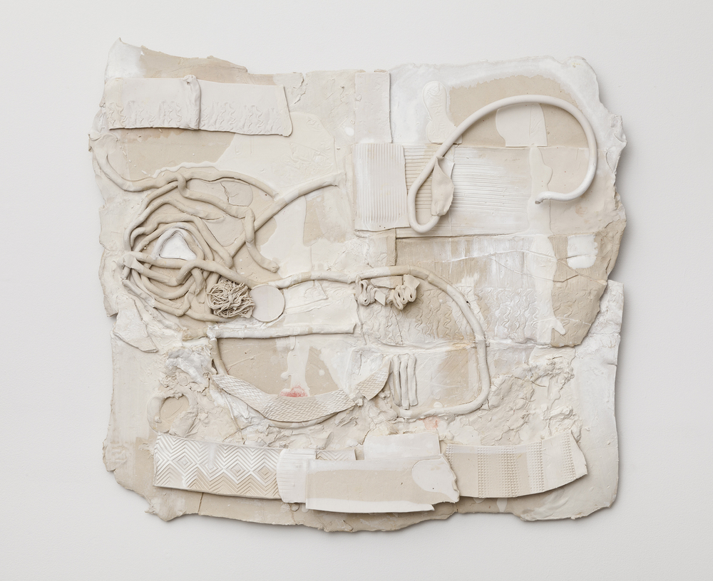 Jennie Jieun Lee,  English Suite No. 2 in A Minor , 2015, glazed stoneware, oil paint, resin, 32 x 33 x 3 in