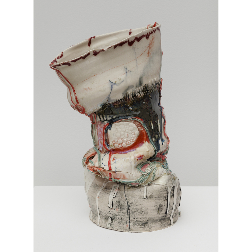 Jennie Jieun Lee,  Cut to Ribbons , 2015, glazed stoneware, 14 x 8 x 6.25 in
