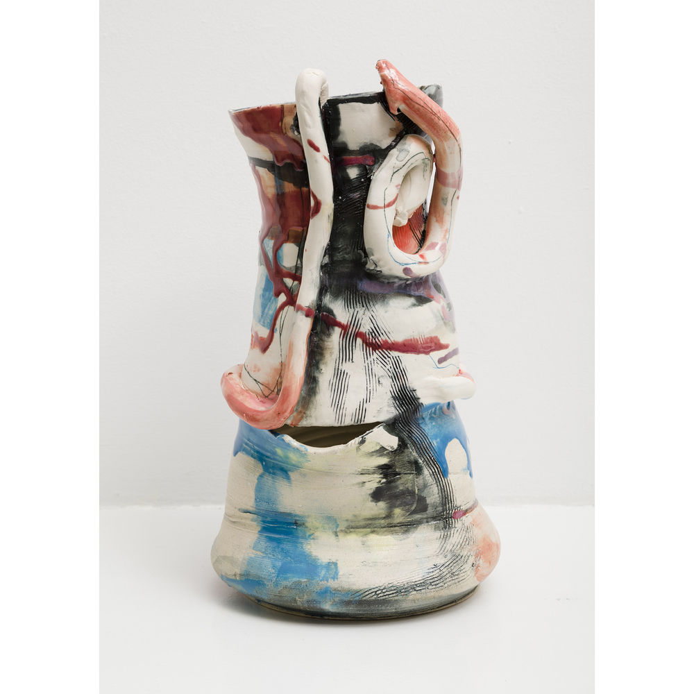 Jennie Jieun Lee,  Strawberry Switchblade , 2015, glazed stoneware, 13 x 7 x 5.5 in