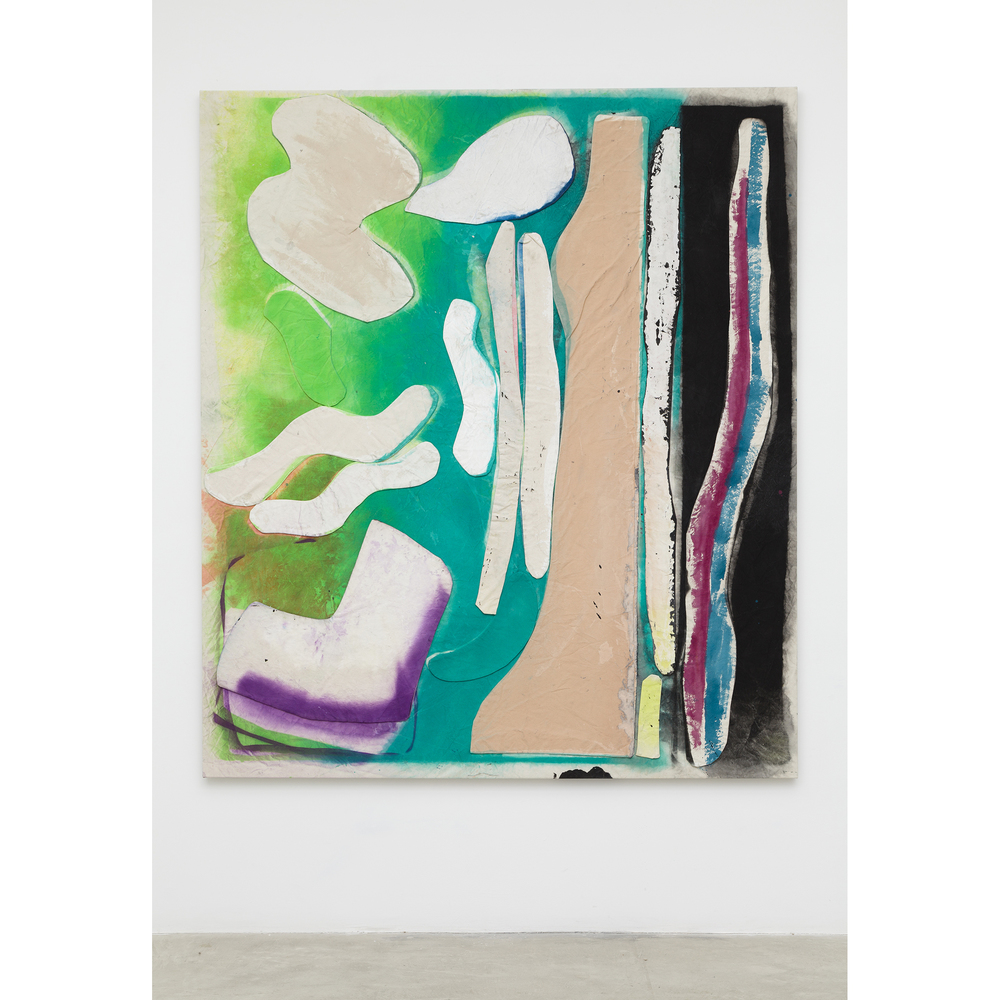 Jess Fuller,  Flesh Blue with Green , 2014, acrylic, fabric dye and gesso on canvas, 82 x 71 in