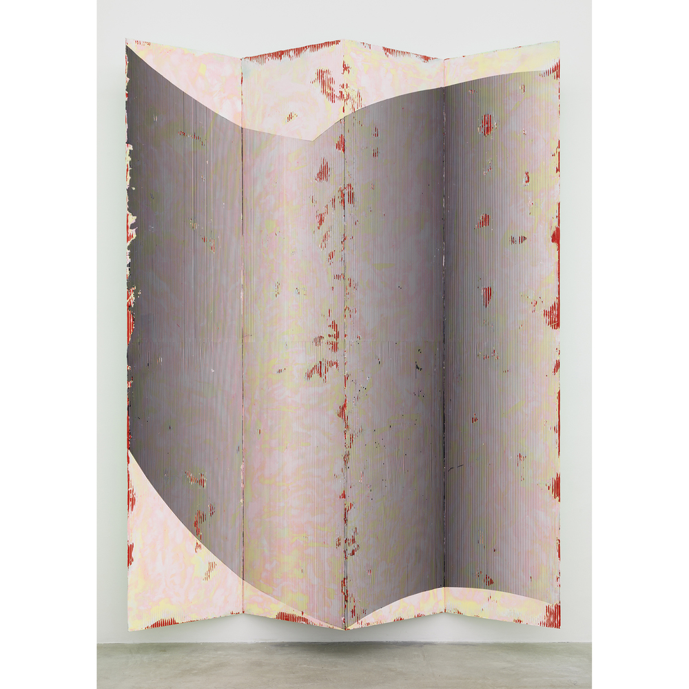 Nicolas Roggy,  Untitled , 2014, primer, modeling paste, pigment on PVC, 110.2 x 80.8 x 12.2 in
