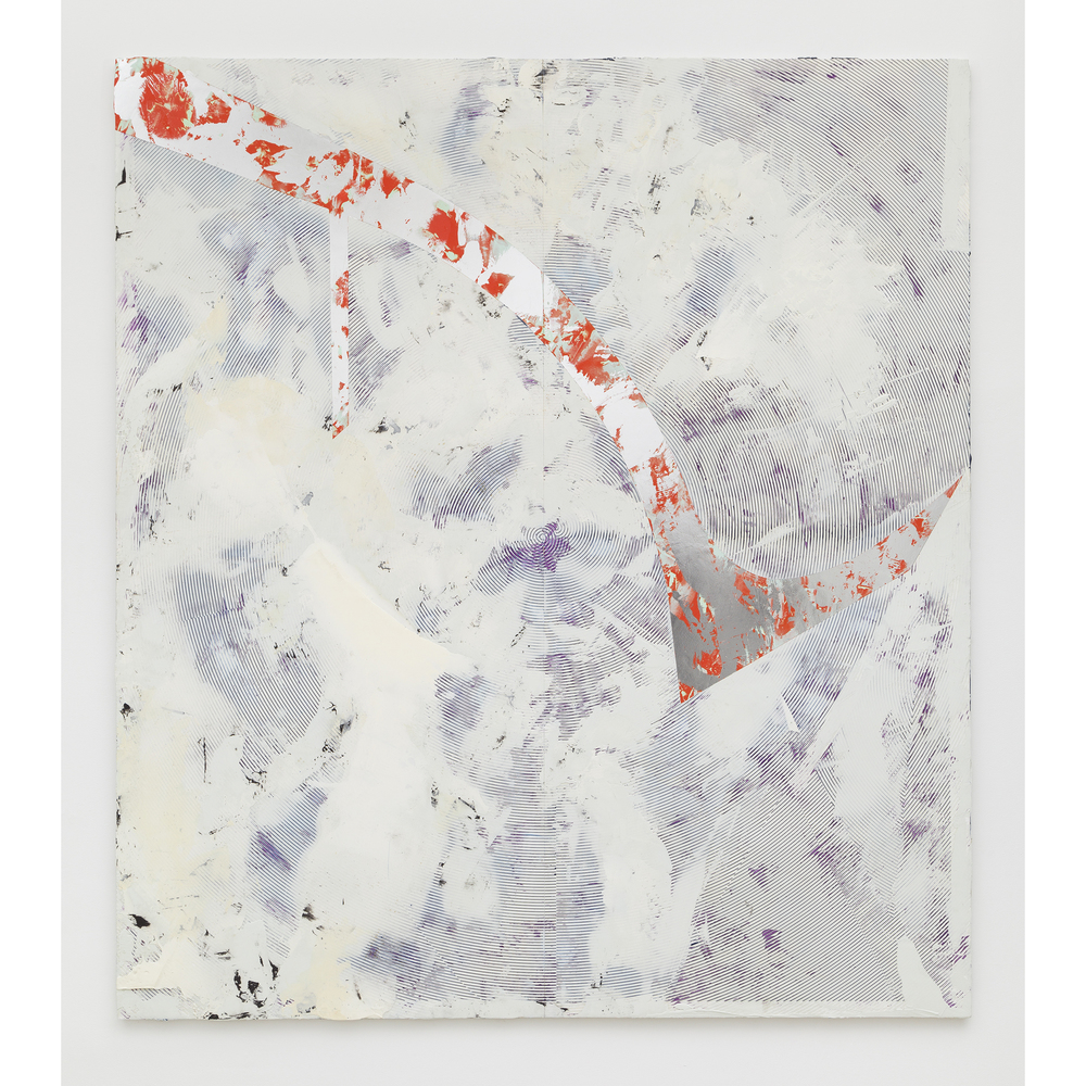 Nicolas Roggy,  Untitled , 2014, primer, modeling paste, pigment, acrylic paint, silver leaf on PVC, 92.9 x 82.7 x 1 in