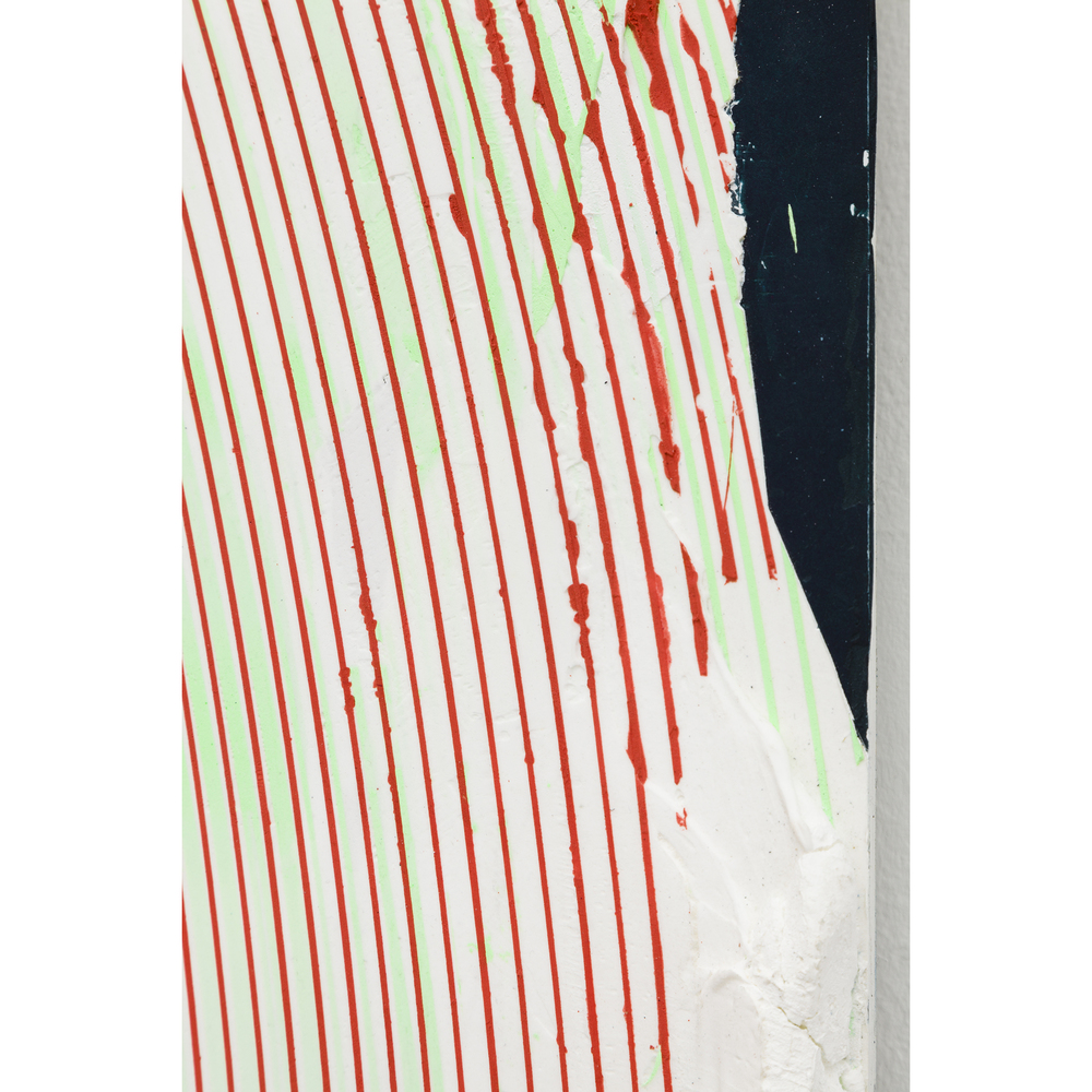 Nicolas Roggy,  Untitled  (detail), 2014, primer, modeling paste, pigment, acrylic paint on PVC, 92.9 x 82.7 x 1 in
