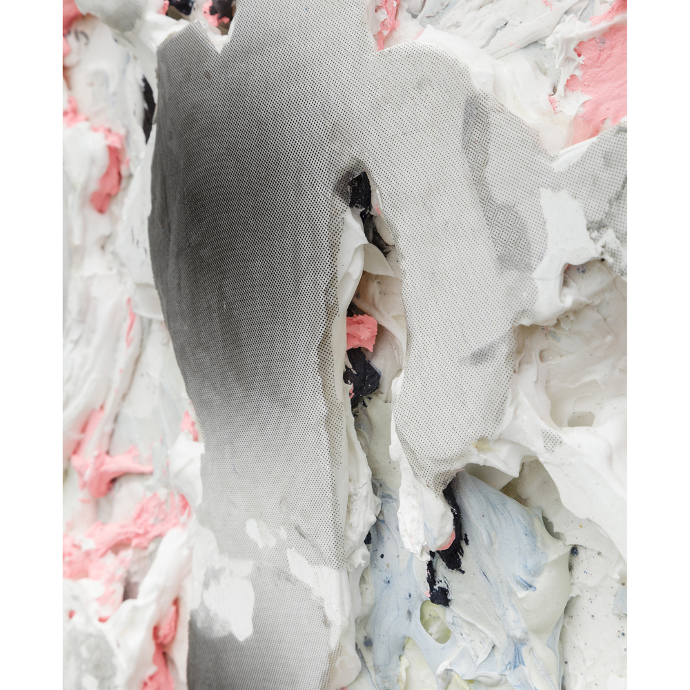 Nicolas Roggy,  Untitled  (detail), 2014, primer, modeling paste, pigment, acrylic paint, print on PVC, 13.7 x 17.7 x 2.3 in