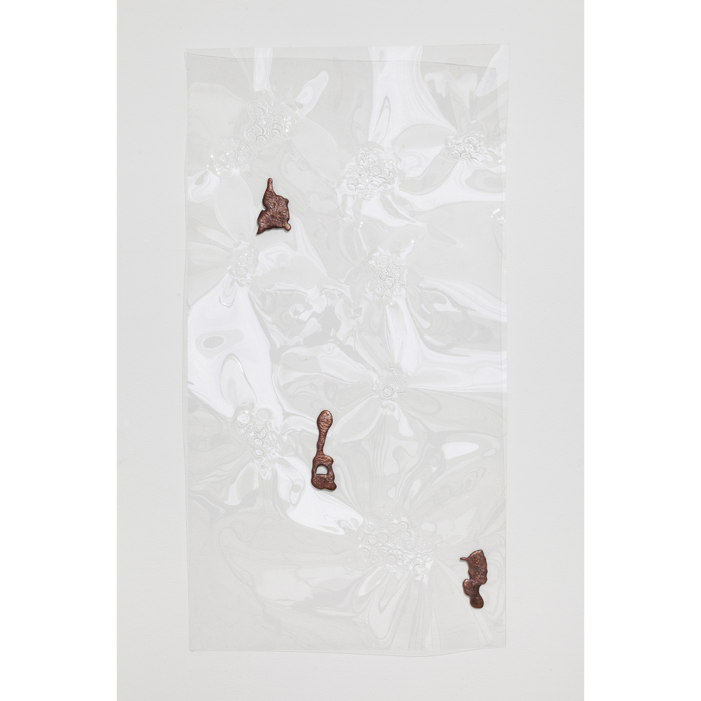 Jory Rabinovitz,  Fountain Relief 7 , 2014, vacuformed plastic, melted pennies, 48 x 24 in