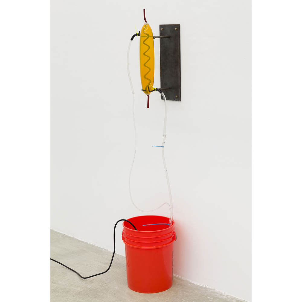 Elias Hansen,  Could've been worse , 2012, bucket, glass, silicone, steel, vinyl, water, water pump, dimensions variable