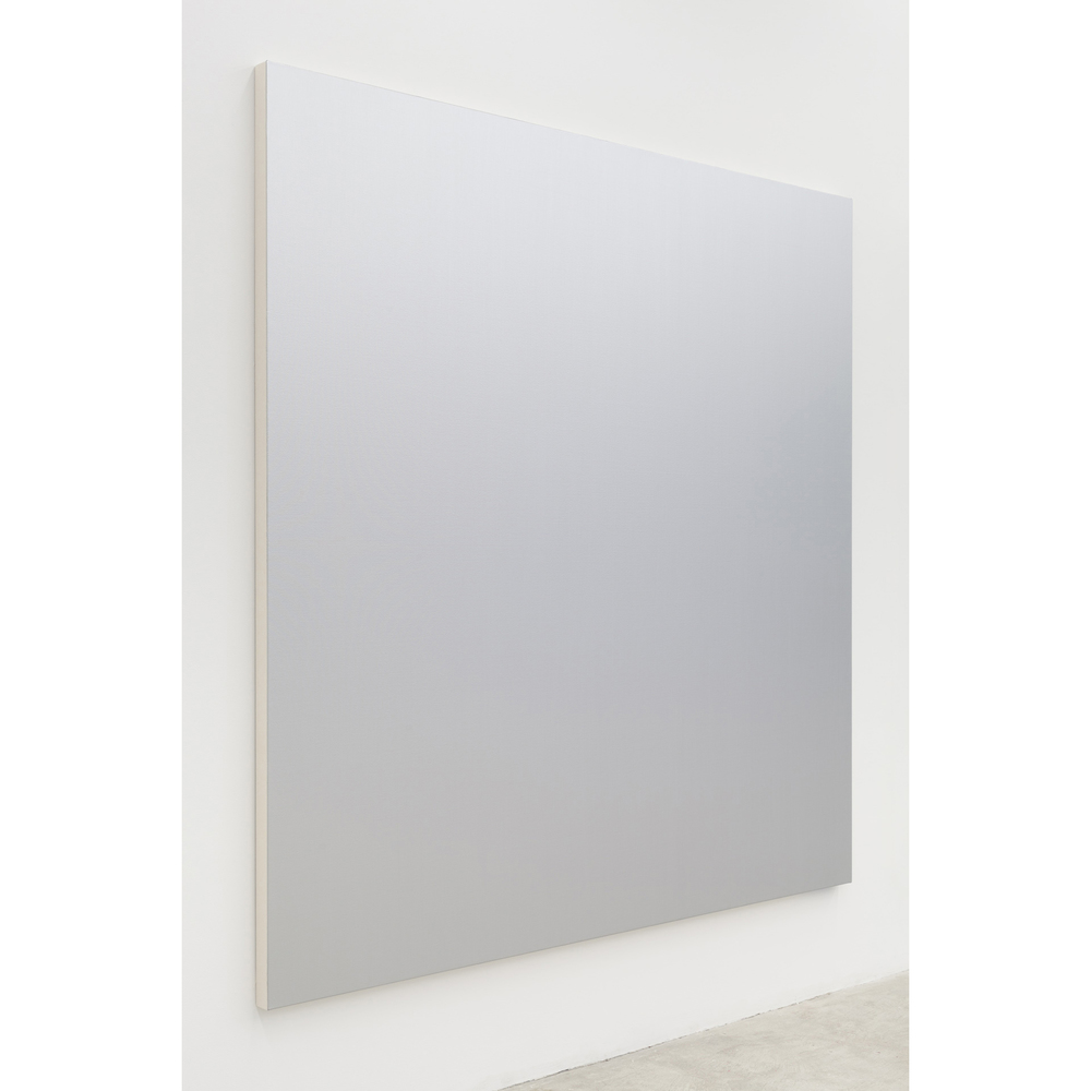 Henry Codax,  Untitled (Silver) , 2014, acrylic on canvas, 84 x 84 in