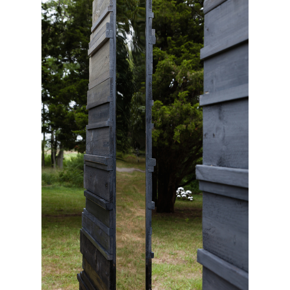 Lisa Beck,    Threshold  (detail)  , 2014, wood, oil paint, mirror-finished stainless steel, dimensions variable