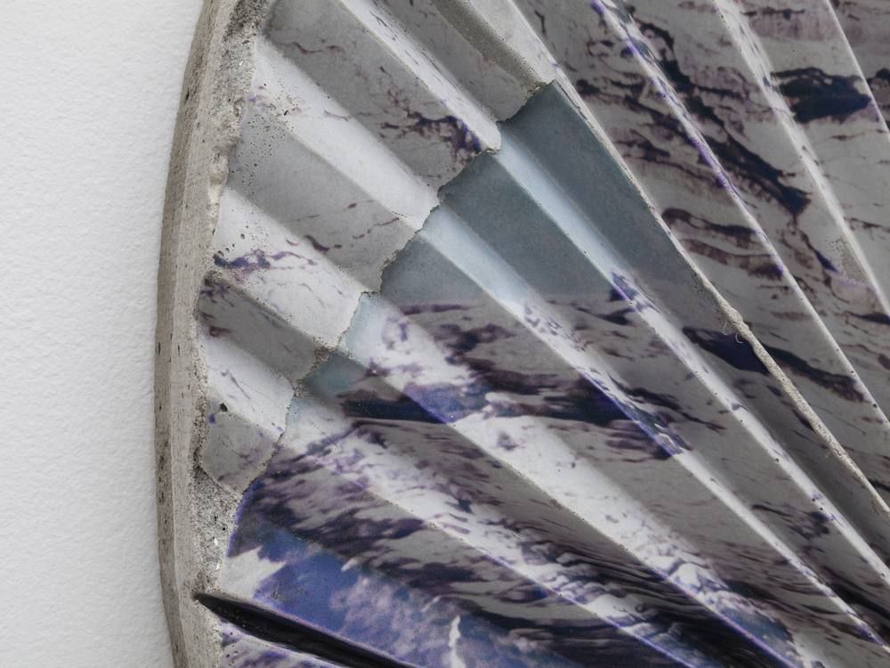 Letha Wilson,  Headlands Concrete Ripple Tondo  (detail), 2015, concrete, emulsion transfer, 30 x 30 x 2 in