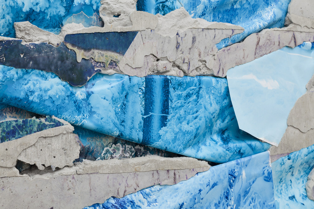 Letha Wilson,  Rabbit Ears Pass Concrete Bend  (detail), 2015, unique c-prints, concrete, emulsion transfer, aluminum frame, 60.375 x 45.5 x 2 in