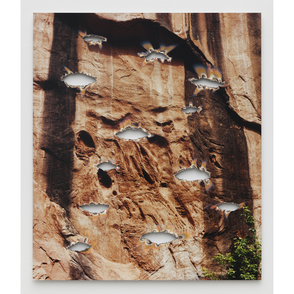 Letha Wilson,  Pool Creek Canyon (Burnouts) , 2015, unique c-print, aluminum, 28 x 24 x 0.5 in