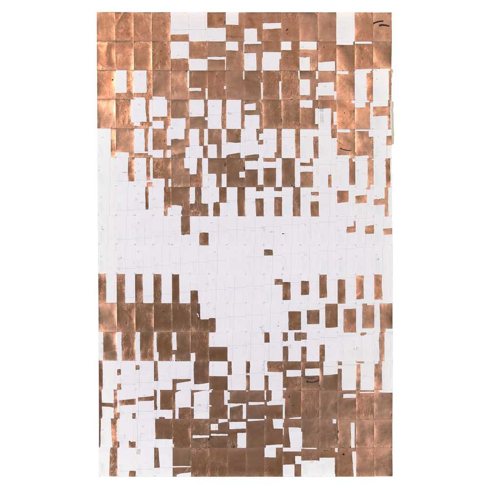 Agnes Lux,  #L-2 , 2013, postcards, graphite, copper, 56 x 88.2 in