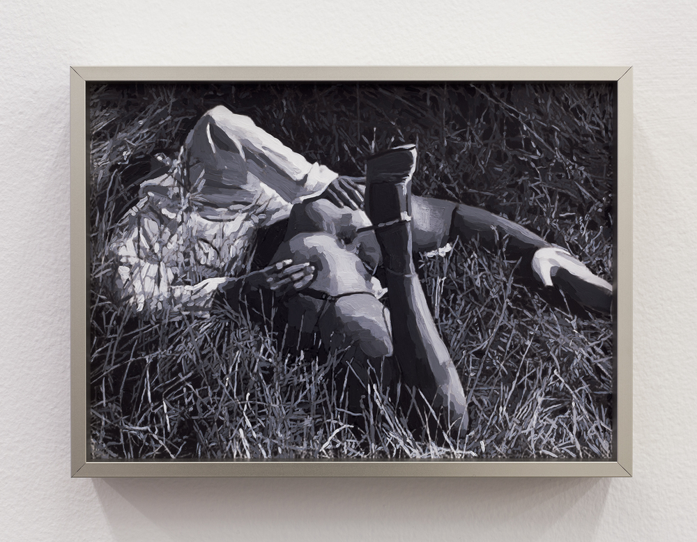 Aura Rosenberg,  Untitled (Woman on her stomach in the Grass, B/W) , 2012, inkjet print, acrylic paint, 5.75 x 7.75 in