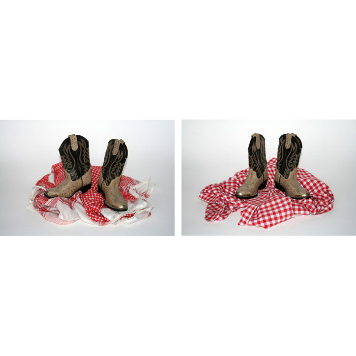 Sam Porritt,  Untitled (boots and tablecloth) + Untitled (boots and scarf) , 2011, C-prints, dimensions variable, Edition of 3