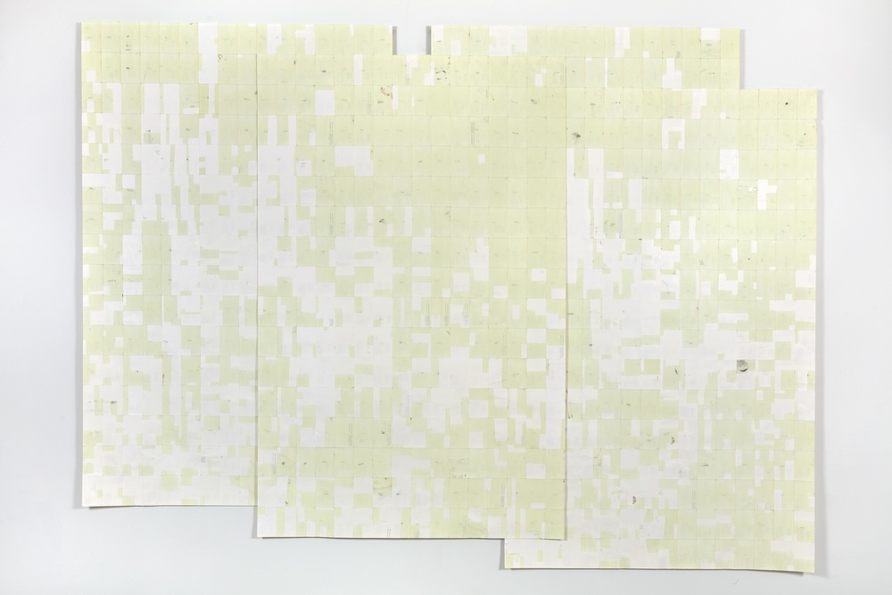 Agnes Lux,  Hiver été liés #3 , 2016, phosphorescent paint on postcards, 99.2 x 133.15 in (light view)
