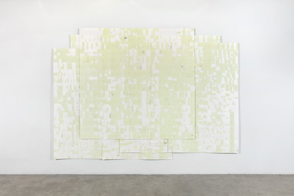 Agnes Lux,  Hiver été liés #4 , 2016, phosphorescent paint on postcards, 104.72 x 147.2 in (light view)