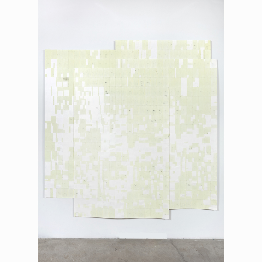 Agnes Lux,  Hiver été liés #1 , 2016, phosphorescent paint on postcards, 104.72 x 101.4 in (light view)