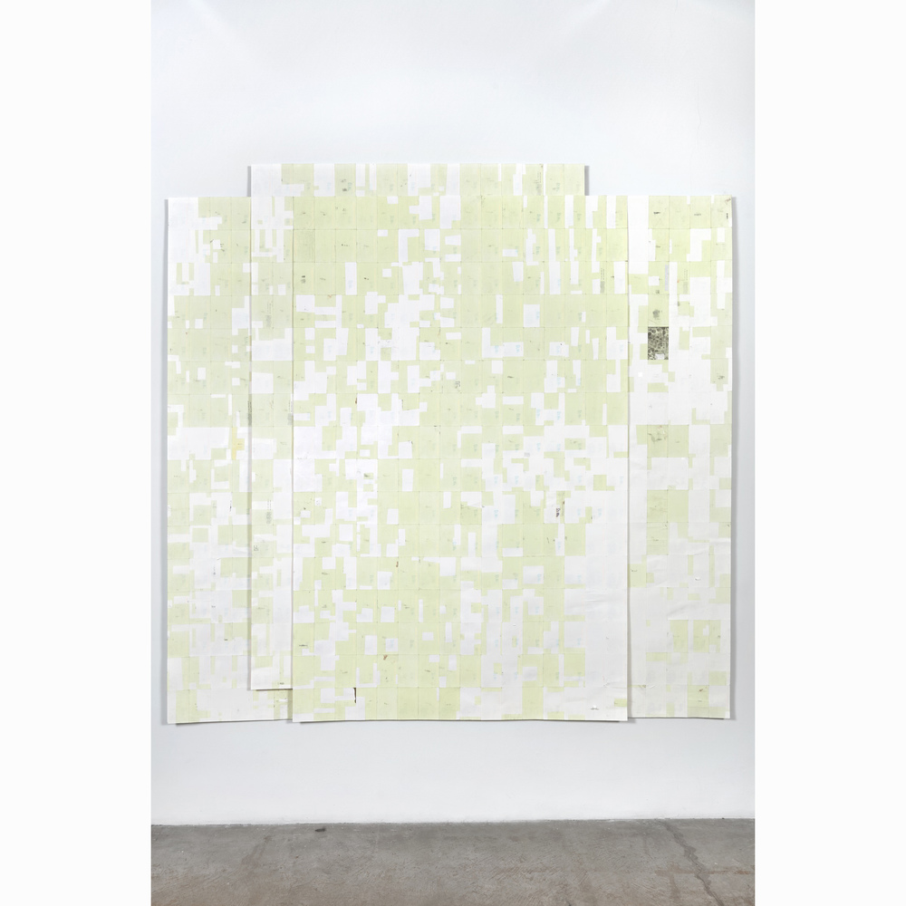 Agnes Lux,  Hiver été liés #2 , 2016, phosphorescent paint on postcards, 93.7 x 94.6 in (light view)