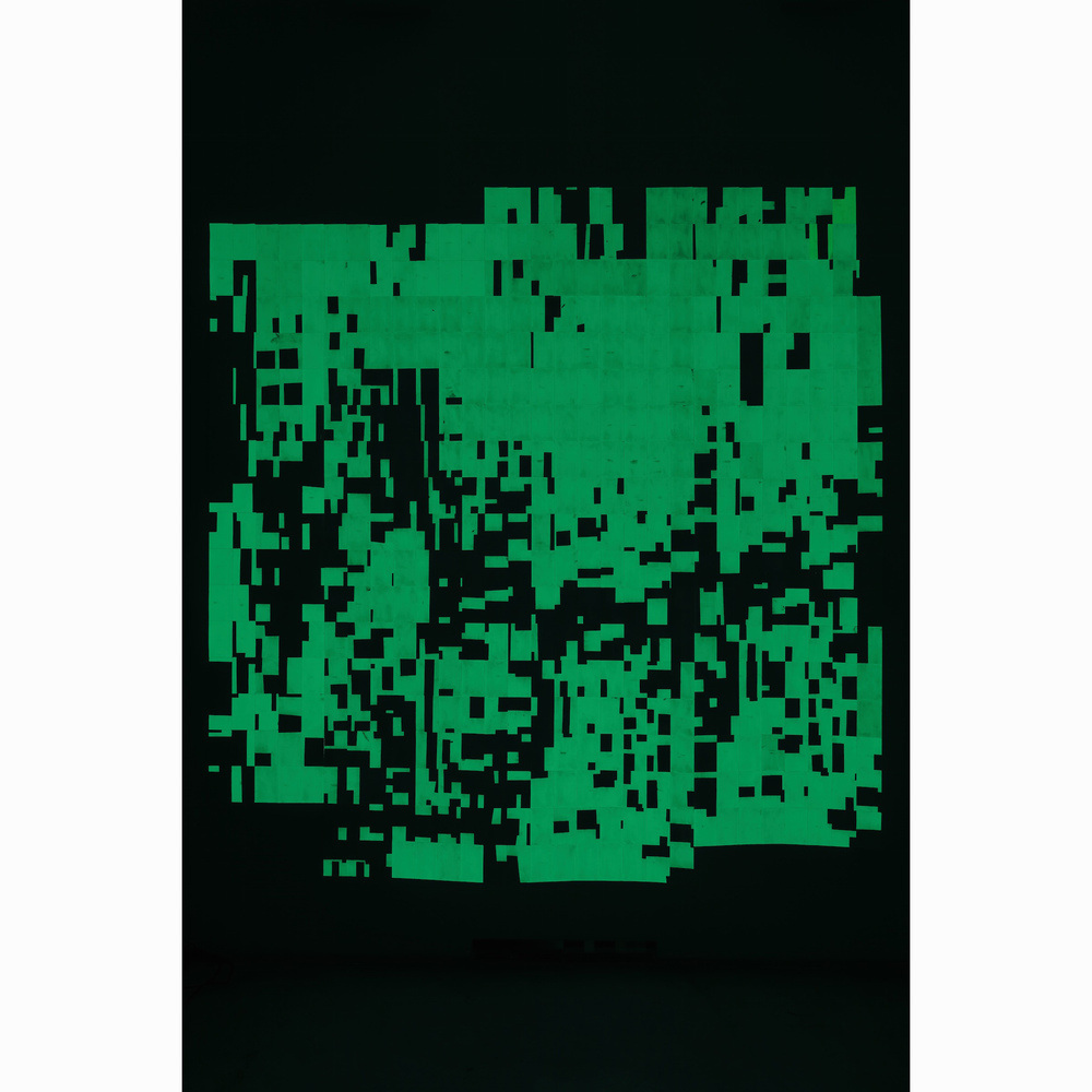 Agnes Lux,  Hiver été liés #1 , 2016, phosphorescent paint on postcards, 104.72 x 101.4 in (dark view)