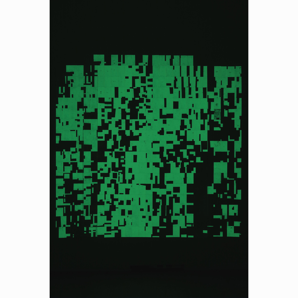 Agnes Lux,  Hiver été liés #2 , 2016, phosphorescent paint on postcards, 93.7 x 94.6 in (dark view)