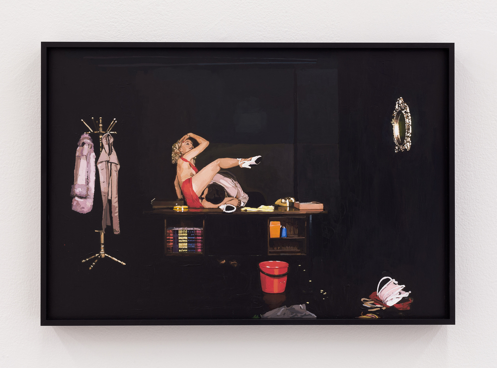 Aura Rosenberg,  Untitled (red dress with props),  2012, inkjet print, acrylic paint, 6.5 x 10 in.