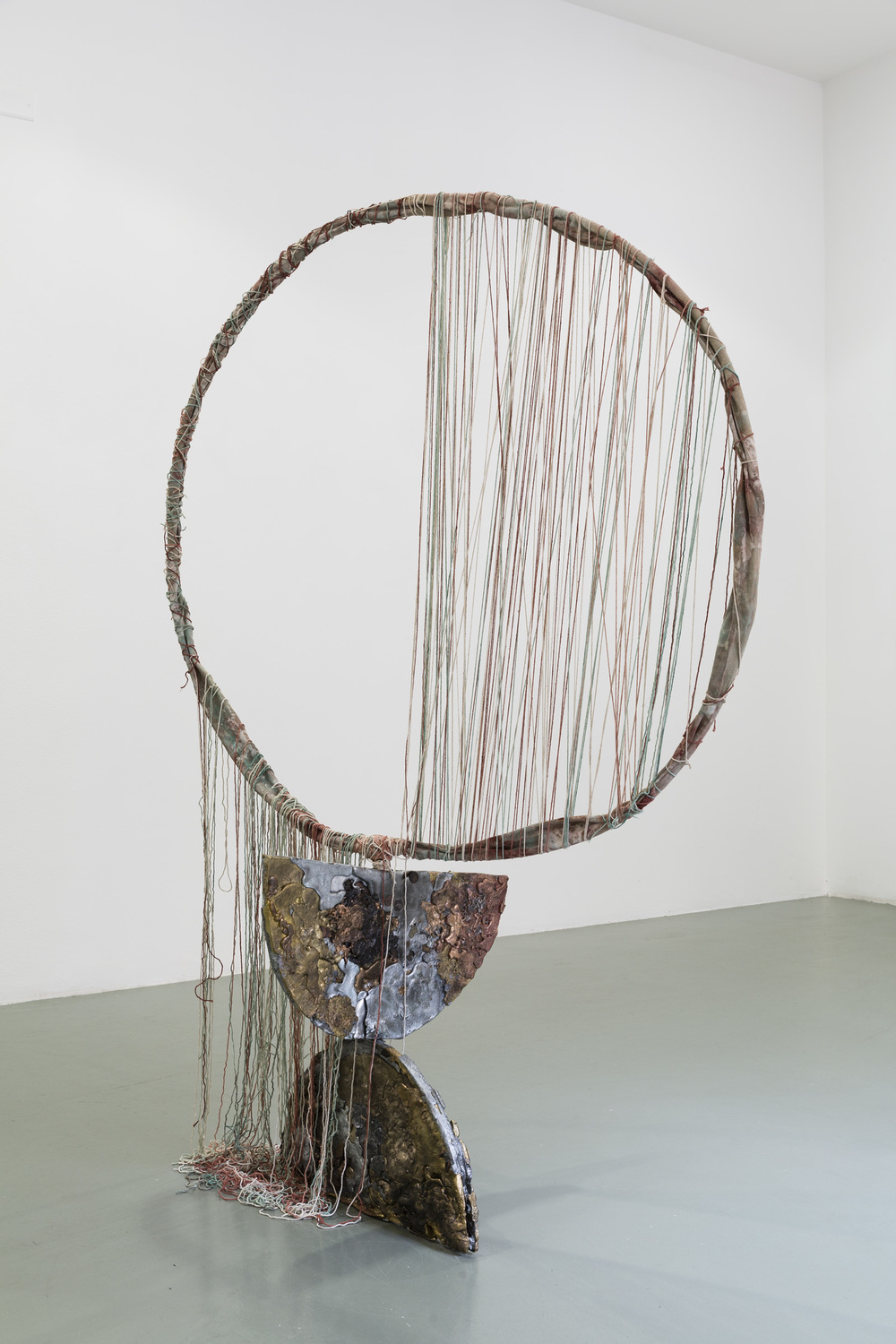 Jory Rabinovitz,  Given (Halved),  2015, melted currency, unsold sculptures, Verdigris, iron oxide, zinc white, 48 x 48 x 72 in