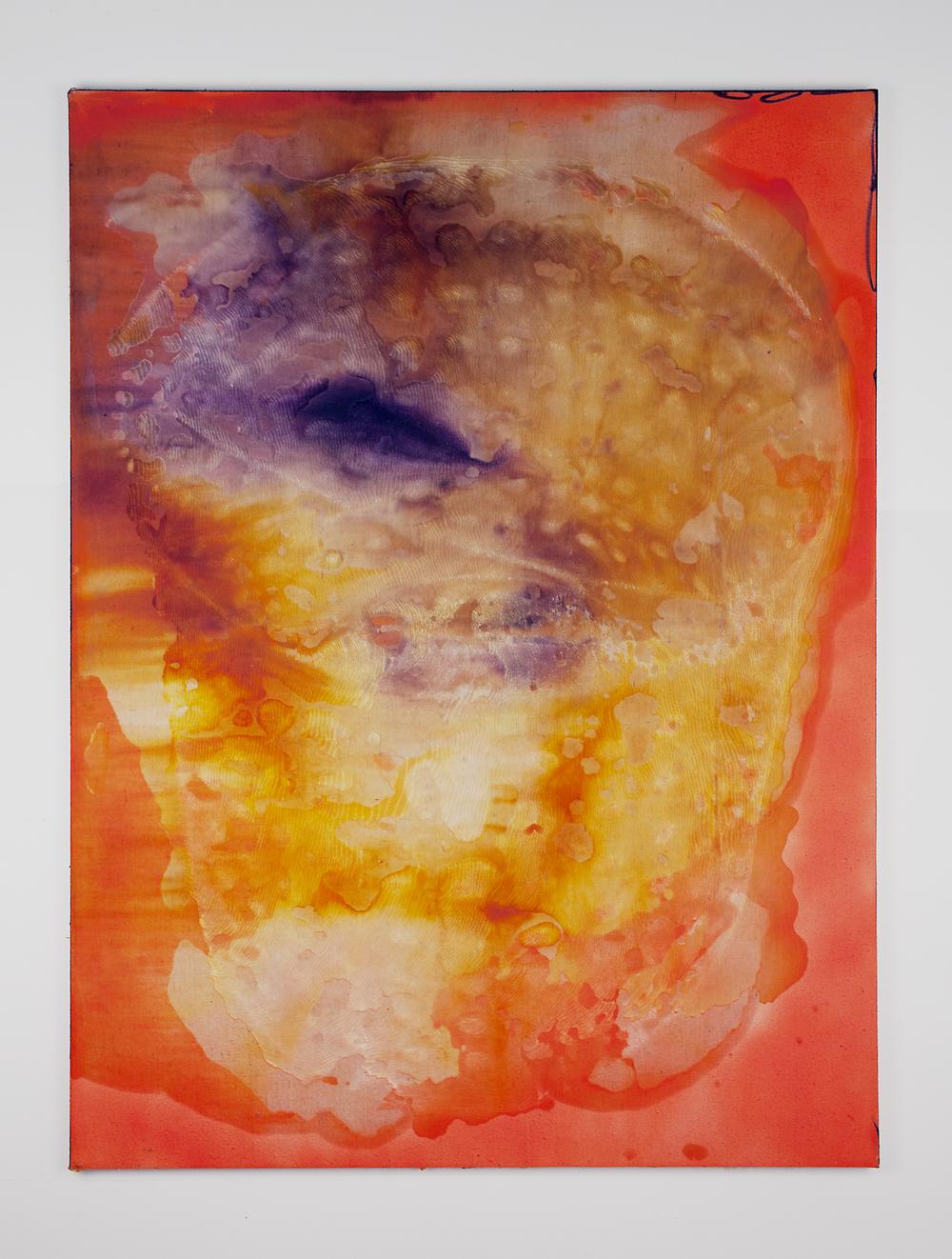 JPW3, Bucket Stamp Orange, 2015, wax, dye on canvas, 48 x 36 in.