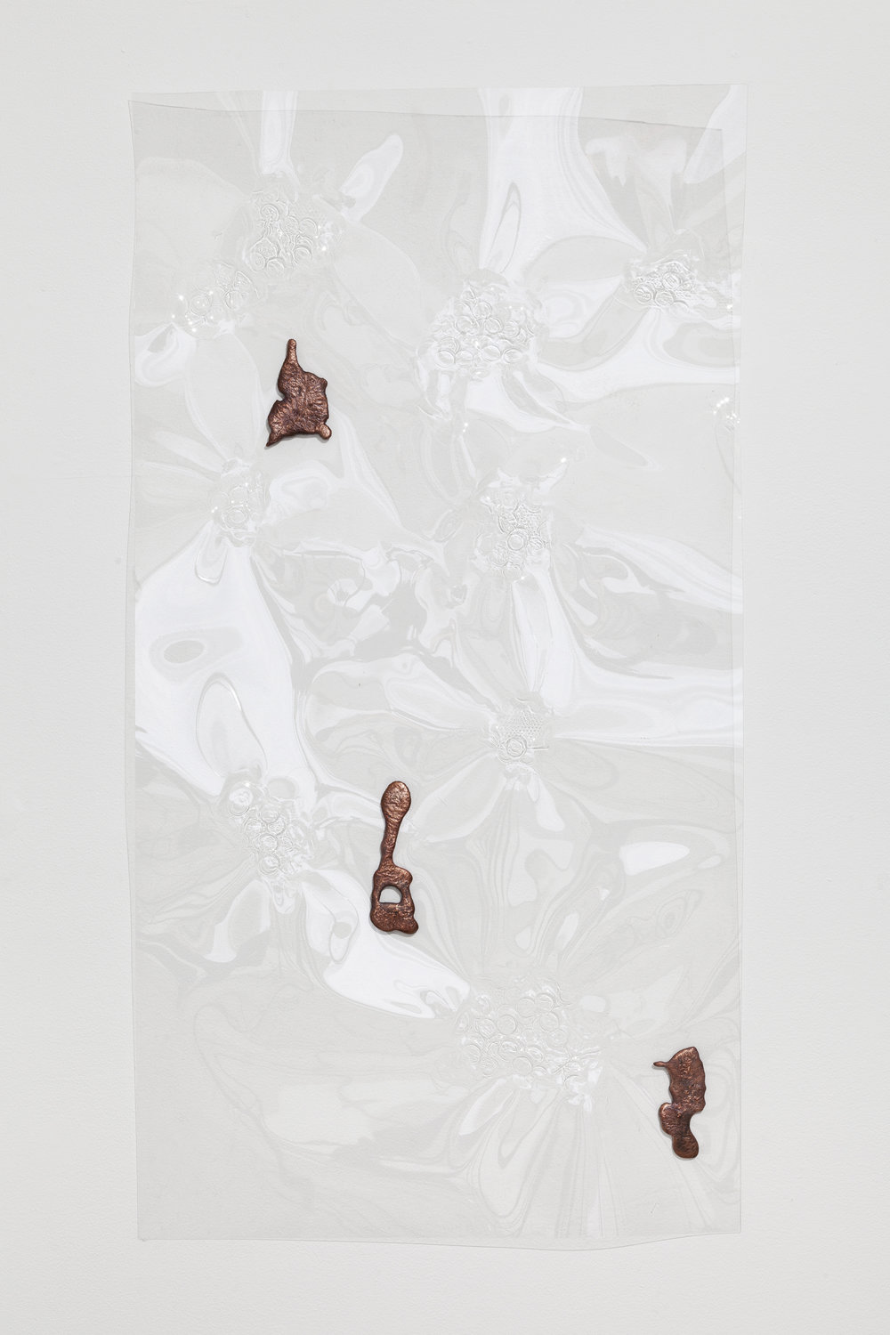 Jory Rabinovitz,  Fountain Relief 7,  2014, vacuformed plastic, melted pennies 48 x 24 in